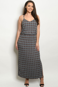 C14-A-3-D1035P4X BLACK BLUE WITH PRINT PLUS SIZE DRESS 2-2-2