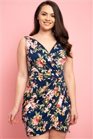 C18-A-1-D9181X NAVY FLORAL PLUS SIZE DRESS 2-2-2