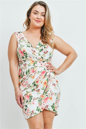 C18-A-2-D9181X IVORY FLORAL PLUS SIZE DRESS 2-2-2