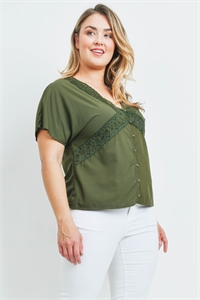 SA4-0-2-T10661X OLIVE PLUS SIZE TOP 2-2-2