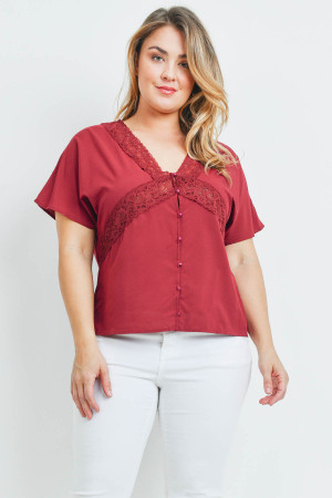 SA4-00-2-T10661X BURGUNDY PLUS SIZE TOP 2-2-2