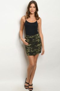 S10-5-1-S9496 OLIVE CAMOUFLAGE SKIRT 3-2-1