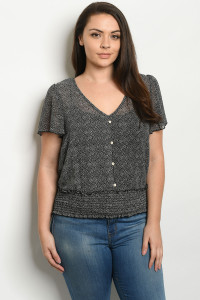 C24-B-2-T3198X BLACK GRAY PLUS SIZE TOP 2-2-2