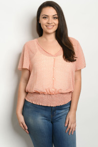 C22-A-1-T3198X PEACH PLUS SIZE TOP 2-2-3