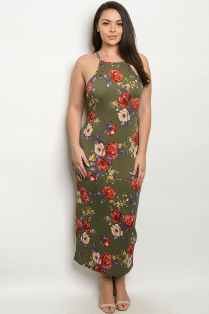 C28-A-1-D3380X OLIVE FLORAL PLUS SIZE DRESS 2-2-2