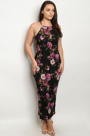 C30-A-2-D3380X BLACK FLORAL PLUS SIZE DRESS 2-2-2