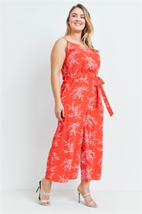 S19-11-2-J97921X RED PRINT PLUS SIZE JUMPSUIT 3-2-2