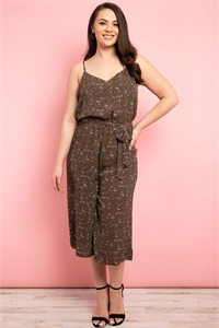 S19-11-2-J9792X BROWN PRINT PLUS SIZE JUMPSUIT 3-2-2