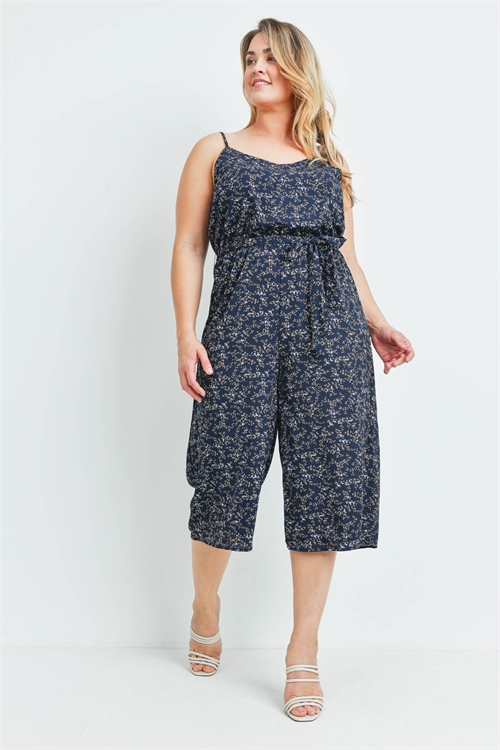 S19-11-2-J9792X NAVY PRINT PLUS SIZE JUMPSUIT 3-2-2