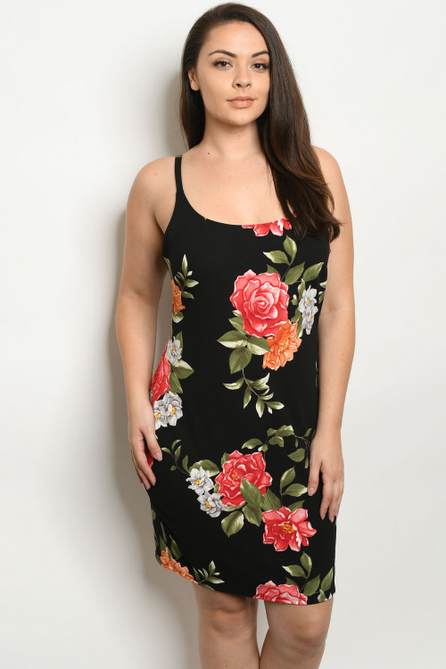 C30-A-1-D3248X BLACK FLORAL PLUS SIZE DRESS 3-3-2