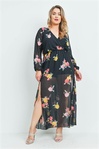 C44-A-1-D550P15X BLACK FLORAL PLUS SIZE DRESS 2-2-2