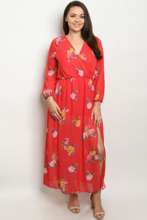 C48-A-2-D550P15X RED FLORAL PLUS SIZE DRESS 2-2-2
