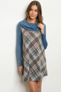 S14-10-1-D3297 BLUE CHECKERED DRESS 2-2-3