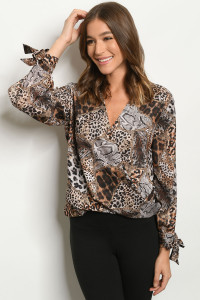 S14-9-1-T4278 BROWN ANIMAL PRINT TOP 2-2-2
