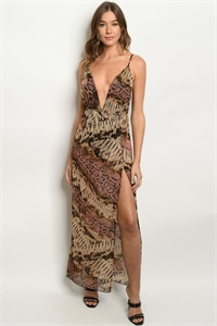 C38-A-2-MD85492 BROWN MAUVE SNAKE PRINT DRESS 3-2-1