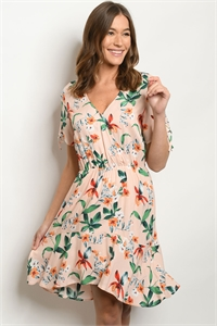 C4-A-1-D3082 PEACH WITH FLOWER DRESS 2-2-2