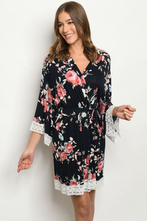 C10-A-1-D80126 NAVY WITH FLOWER PRINT DRESS 2-4
