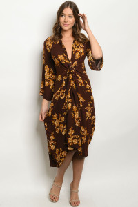 S10-6-1-D8360 BROWN MUSTARD DRESS 2-2-2