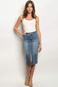 S11-1-1-S0040 BLUE DENIM SKIRT 3-2-1