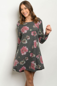 S4-3-1-D51951 CHARCOAL WITH FLOWERS DRESS 2-2-2