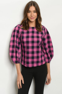 S11-5-1-T17501 PINK NAVY CHECKERED TOP 3-2-1
