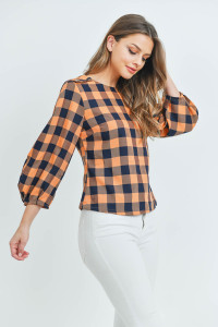 S19-11-2-T17501 ORANGE NAVY CHECKERED TOP 3-2-1