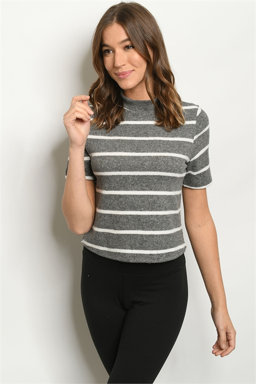 S19-10-2-T1598 CHARCOAL IVORY STRIPES TOP 3-2-1