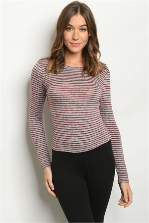 S19-10-4-T1585 BURGUNDY GRAY STRIPES TOP 3-2-1