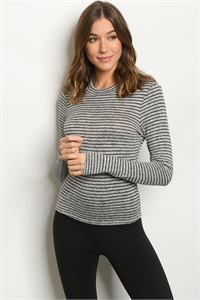 S19-10-4-T1585 GRAY BLACK STRIPES TOP 3-2-1