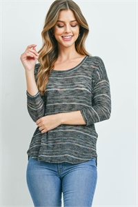 C76-B-1-T5745 BLACK MULTI STRIPES TOP 1-2