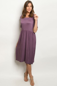 S19-11-2-D1250 PLUM STRIPES DRESS 1-1-2
