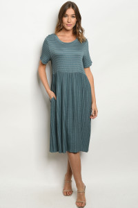 S19-11-2-D1250 BLUE STRIPES DRESS / 4PCS