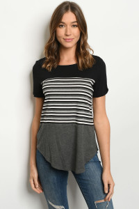 S19-10-2-T8579 BLACK STRIPES TOP 1-2-1