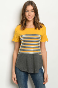 S22-13-3-T8579 MUSTARD STRIPES TOP 2-2-2