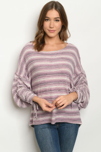 S17-2-2-T15044/T10170 LAVENDER STRIPES SWEATER 1-1-1