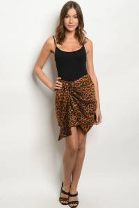S13-8-1-S40818 BROWN ANIMAL PRINT SKIRT 2-2-2