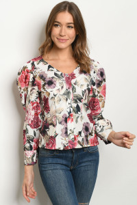 S12-11-1-T2764 WHITE WITH FLOWER PRINT TOP 2-2-2