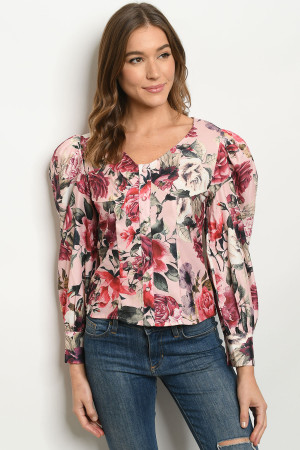 S12-11-1-T2764 PINK WITH FLOWER PRINT TOP 2-2-2