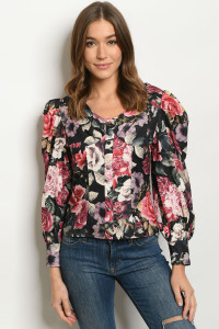 S12-11-1-T2764 BLACK WITH FLOWER PRINT TOP 2-2-2