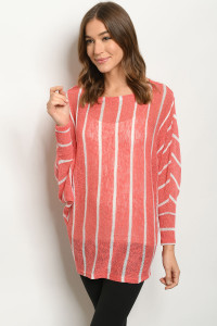 C24-A-1-T2228 CORAL STRIPES TOP 3-2-3
