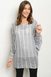 C16-A-3-T2228 GRAY STRIPES TOP 2-2-2