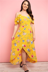 C36-A-3-D2322X MUSTARD WITH FLOWER PRINT PLUS SIZE DRESS 2-2-2