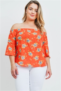 C64-B-1-T2397X ORANGE WITH FLOWER PRINT PLUS SIZE TOP 3-2-2