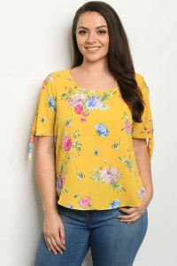 C74-B-1-T2379X MUSTARD WITH FLOWER PRINT PLUS SIZE TOP 2-2-2