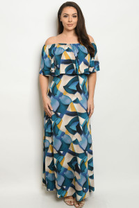C60-A-1-D2245X TEAL TAN PLUS SIZE DRESS 2-2-2