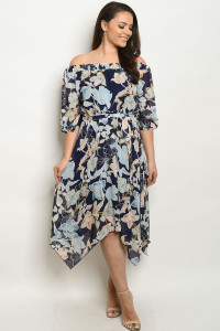 C42-A-1-D2393X NAVY FLOWER PRINT PLUS SIZE DRESS 3-1-2