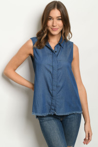 S22-12-3-T1612 BLUE DENIM TOP 2-2-2