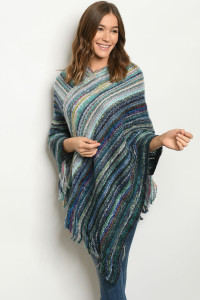S25-8-1-P4022 BLUE MULTI PONCHO SWEATER / 6PCS
