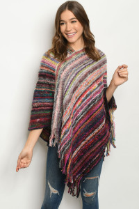 S11-9-1-P4022 OLIVE MULTI PONCHO SWEATER / 6PCS