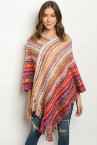 S25-8-1-P4022 RED MULTI PONCHO SWEATER / 6PCS